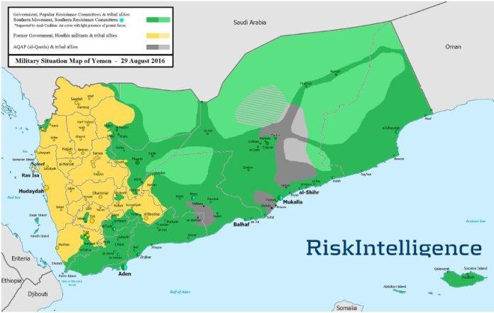 Mapa kontrole teritorija u Jemenu za 29 august 2016. godine