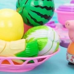 Childrens Play Kitchen Free Standing Shelves 趣味儿童乐园 小猪佩奇在厨房玩切切乐玩具 提高宝宝认知能力 腾讯om 提高