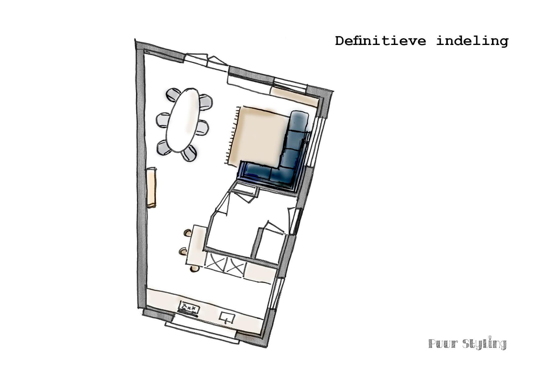puur styling interieuradvies blauw plattegrond