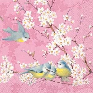 Suloinen vaaleanpunainen servetti linnut