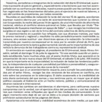 Periodistas de El Universal rechazan censura en caso Sidor