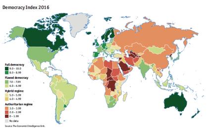 Solo 19 países en el mundo tienen democracias plenas