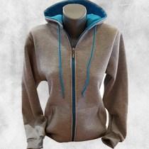 zenska duks jakna svetlo siva tirkiz
