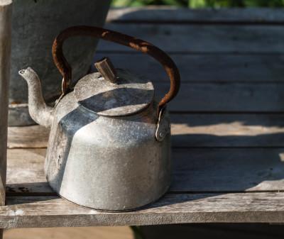 Rusty old tea kettle