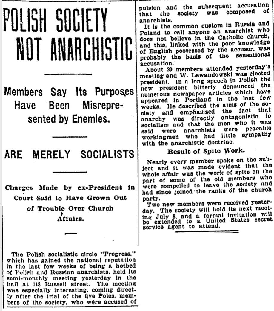 Newspaper clipping from 1923 related to the Polish owners of the haunted white eagle saloon