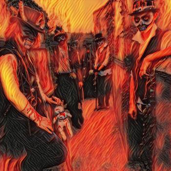 Practitioners standing in Voodoo Alley