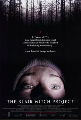 Blair Witch Project 1999 Movie poster with scared face and text