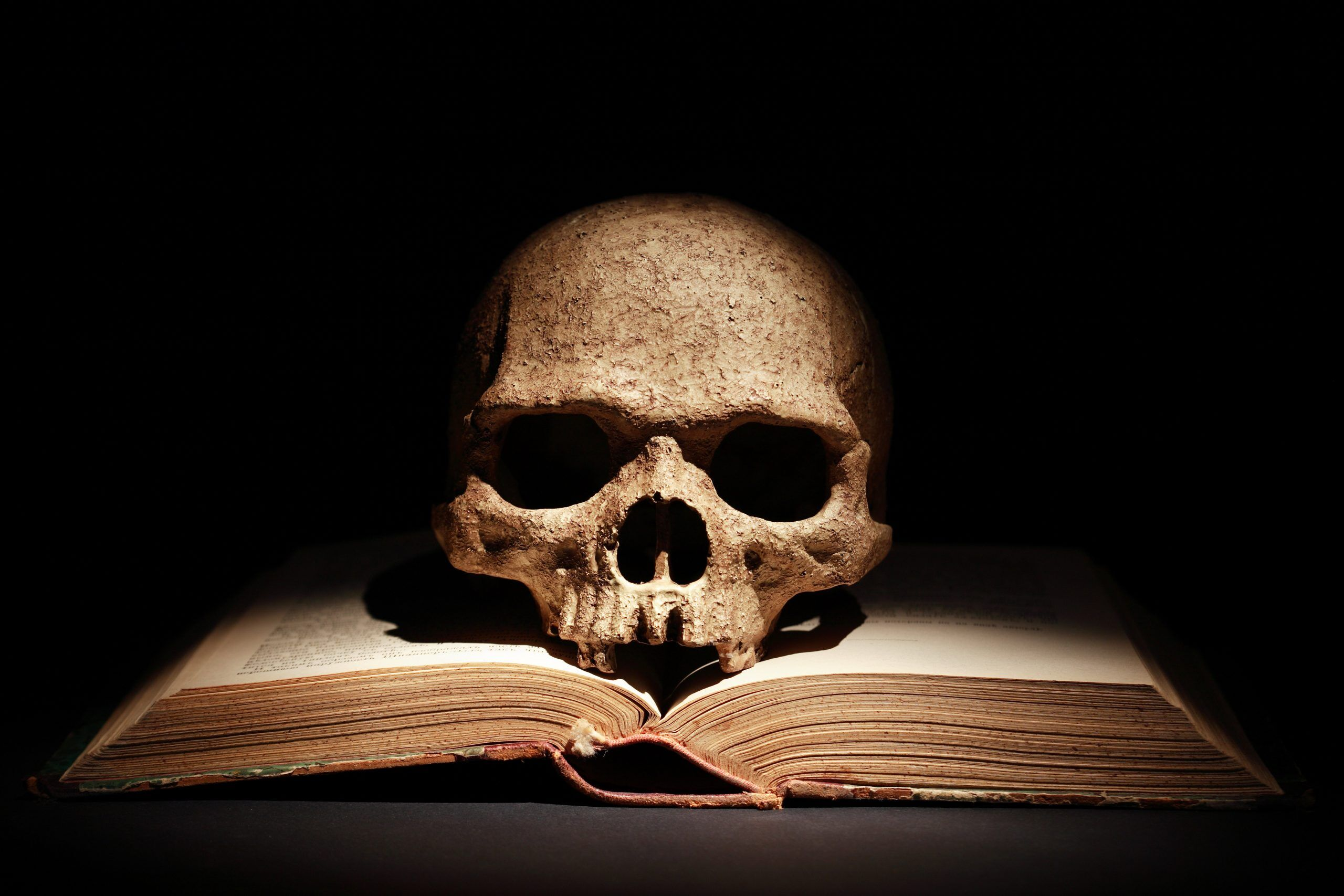 horror book with skull