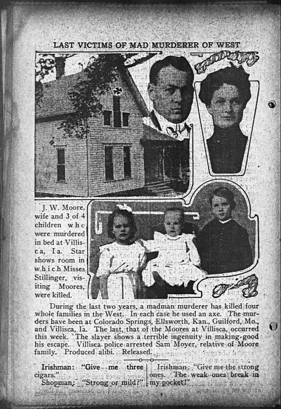 Newspaper article from the early 1900's alerting people of the murders that took place.