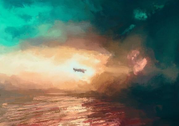 Alaska Triangle Airplane Flying into a Storm art