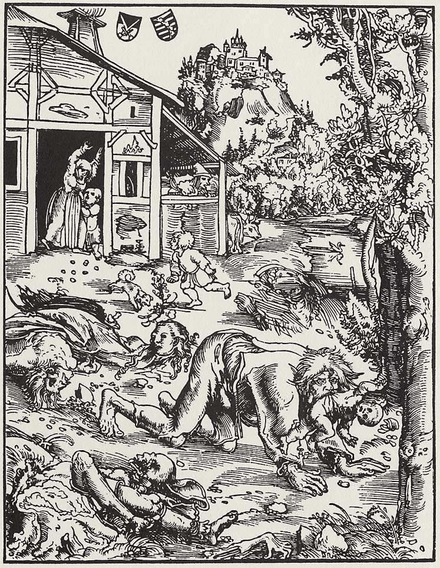 Lycanthropic woodcut of a village attacked by werewolves by Lucas Cranach der Ältere, 1512