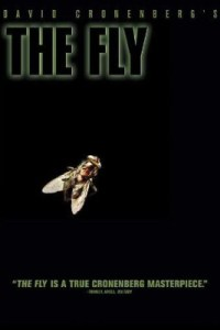 The Fly horror movie poster with a fly and black background