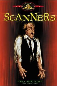 Scanners horror movie poster from 1981 featuring a man whose head is exploding