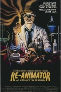 Re-Animator horror movie poster featuring a severed head and a creepy scientist