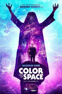 Color out of space 2019 poster with sci-fi horror background
