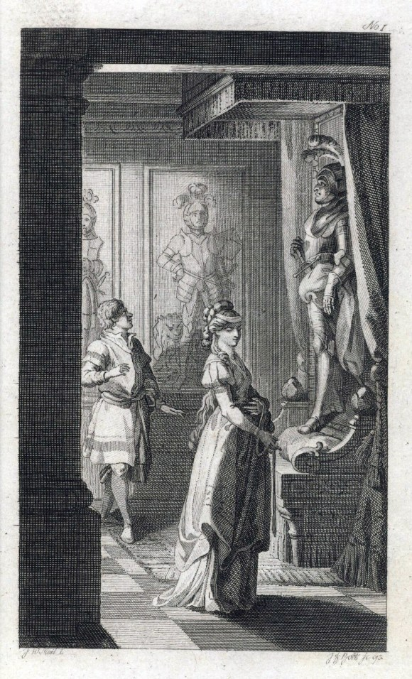 Illustration from Horace Walpole's The Castle of Otranto showing a man and woman in a gothic castle hallway