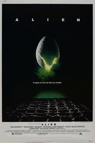 Alien horror movie poster 1979 showing an alien egg in space