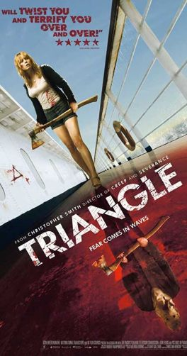 Triangle Folk Horror movie poster with girl holding axe on a boat with a bloody reflection