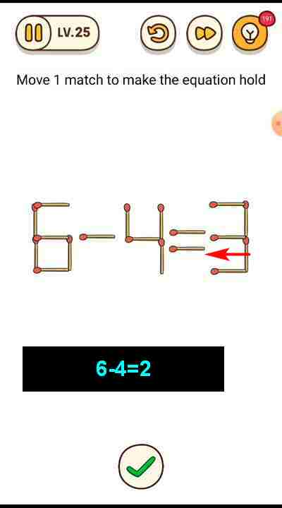 Arti Move One : Brain, Level, Match, 6-4=3, Equation, Puzzle, Master