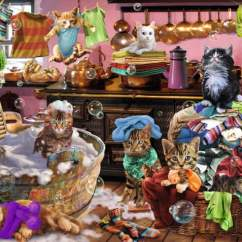 Cats In The Kitchen Pantry Cabinet Ravensburger Jigsaw Puzzle 150 Pc