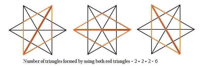 number of triangles formed using both red parts