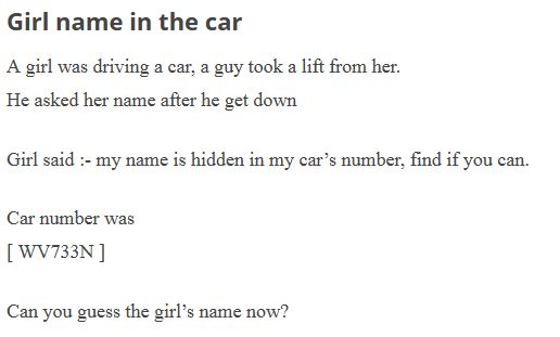 guess the girl name in the car