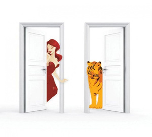 prisoner two doors with lady and tiger