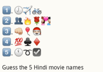 guess latest hindi movie names from whatsapp emoticons
