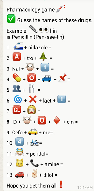 Guess indian drugs from whatsapp emoticons puzzle