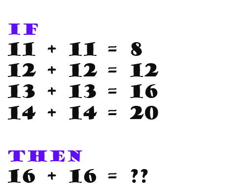 If  11 + 11 = 8,  12 + 12 = 12, 13 + 13 = 16 14 + 14 = 16 Then 16 + 16 = ?
