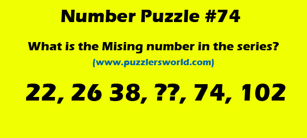 Missing number in series 22,26,38,_,74,102