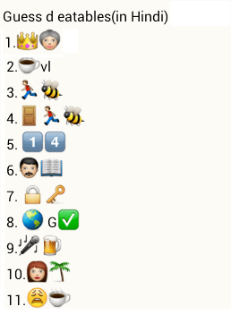 Guess the eatables - whatapp puzzle