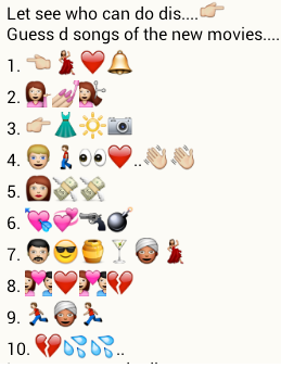 guess songs of new movies from whatsapp emoticons