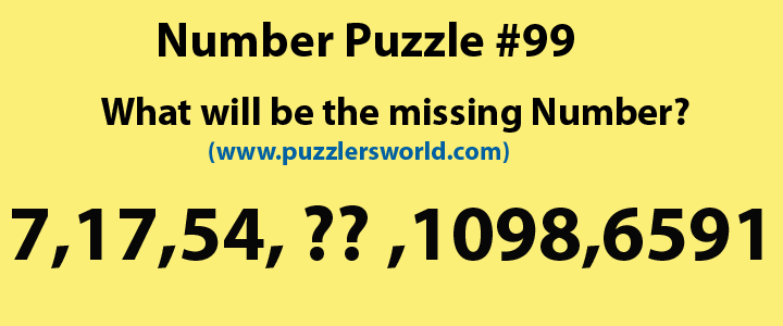 number Puzzle 99, find missing number 7,17,54,?,1098,6591