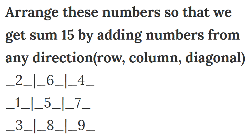 arrange these numbers to get 15 sum in all directions