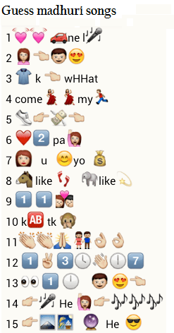Guess madhuri songs from whatsapp emoticons