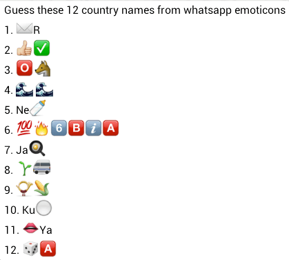 guess 12 country names from whatsapp emoticons