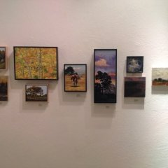Small canvas of wax encaustic works exhibit