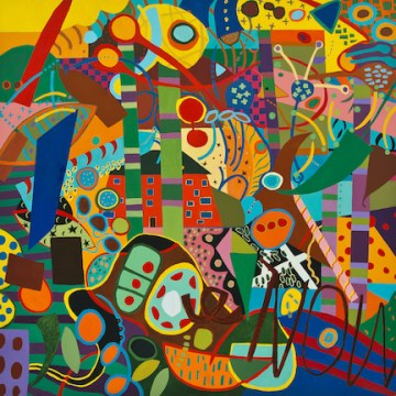 """Covid #1 Gone People Gone by Myra Eastman,   Acrylic on Canvas  48' x 48"""""""