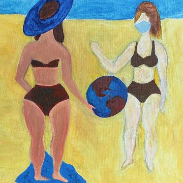 "Fun At the Beach in Corona Times by Virginia Sajan, Acrylic on Canvas 11"" x 14"""