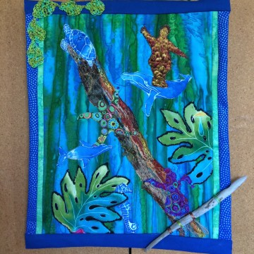 "Deep View by Gaby Litsky, Fabric Art Quilt 14"" x 12"""