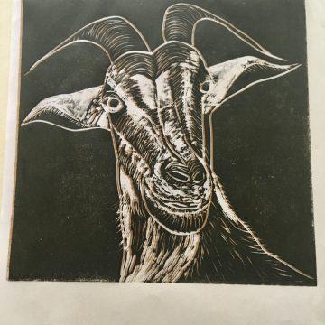 "Abigail by Helen MacKinlay, Silk-Cut Lino Print on Sumi Paper 6"" x 4"""