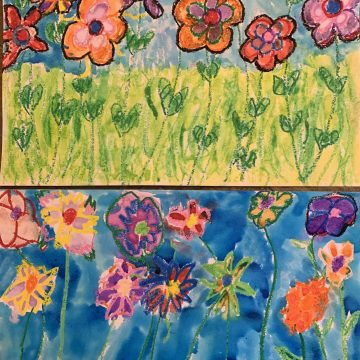 "Mother's Garden by Allan Bueno (top) & Brian Bueno (bottom), Oil Pastels & Watercolo 8.5"" x 11"""
