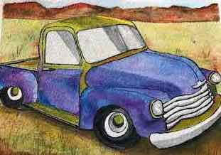 "Old Chevy by Teresa Ronsse, Watercolor 4"" x 5"""
