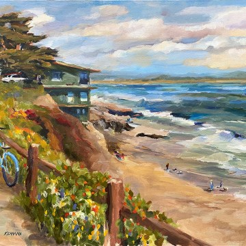 "The Beauty of a Spring Day at Pleasure Point by Bill Kennann, $750, Oil on Canvas, 14"" x 18"""