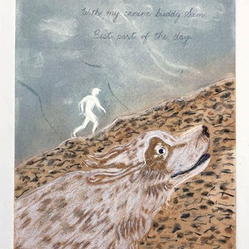 "Running Mates by Helen Mackinlay, $100, Lino Etching with Monotype, 11"" x 14"" Framed"