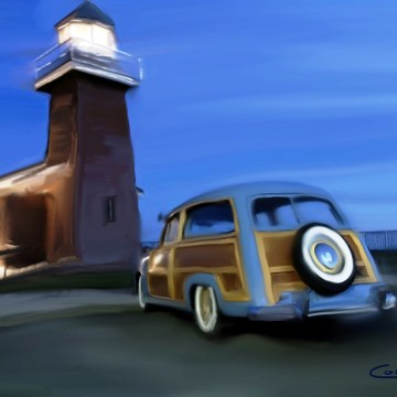 "Woody at the Lighthouse by Larry Cohen, $250, Digital, 11"" x 14"""
