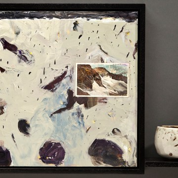 "Blanketed Boulders by Jean & Mike Beebe, $600, Acrylic on Panel with Woodfried Ceramic Cup, 17.5"" x 23.75"" x 5"""