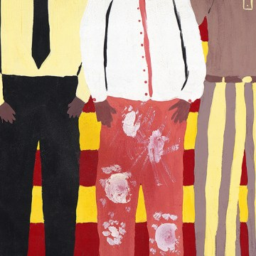 "Line Dance by Sally Vaughn, $295, Giclèe on Metal of an Original Tempera on Paper, 12.5"" x 24"""