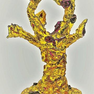 "Tribal III by Vivienne Riggio, $800, Wire, Plaster, Acrylic Paint, 28"" x 15"" x 15"""